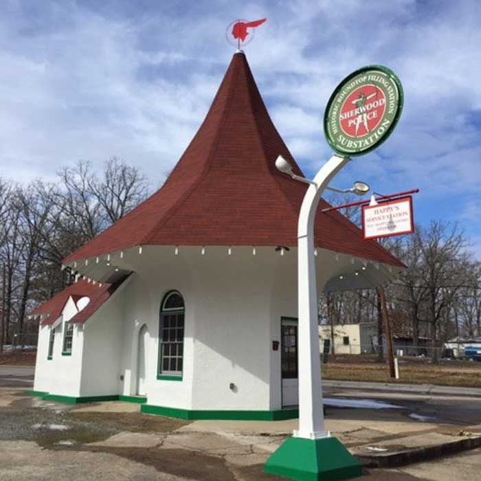 Roundtop Filling Station was fulling restored in 2014 and is now used as a substation by the Sherwood Police Department.